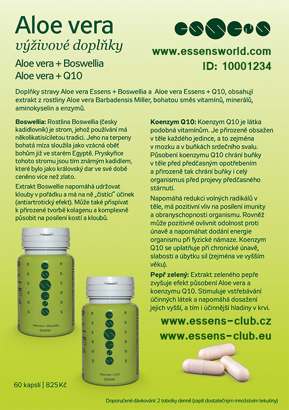Aloe vera kapsle Q10 a Boswelia - Essens ID-10001234